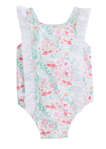 Boca Floral Flutter One Piece Swimsuit Little English