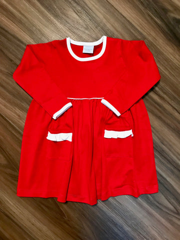 L/S Solid Dress w/Ruffle Pocket Squiggles