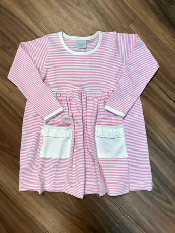 L/s Stripe Dress w/Ruffle Pocket Squiggles