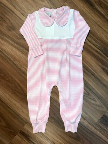 Girl's Stripe Romper w/Collar Squiggles