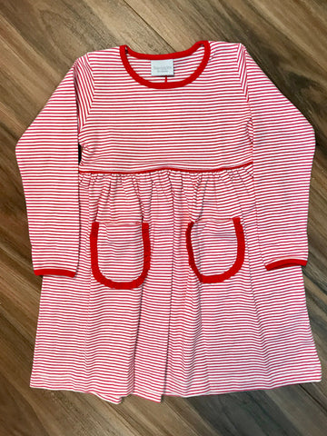 Narrow Stripe Ruffle Pocket Dress Child Squiggles