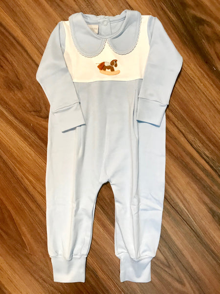 Rocking Horse Long Romper w/Collar Squiggles
