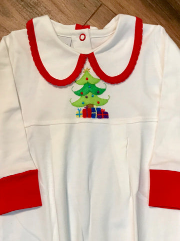 Christmas Tree Romper w/Collar Squiggles