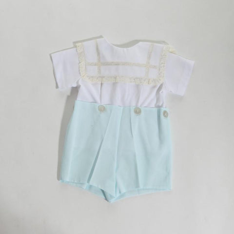 Pieces By Tam Square Collar Blue/White Button On Short