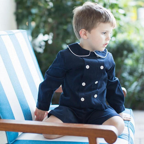 Navy Corduroy Dressy Short Set Month Toddler Bailey Boys