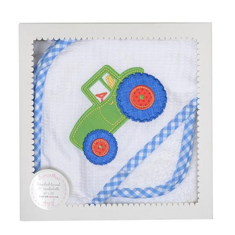 Tractor Hooded Towel Set 3 Marthas
