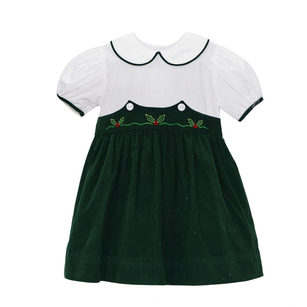 Holly Embroidered Cord Dress Lullaby Set