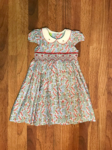 Berry Smocked Dress w/Sash Le Za Me