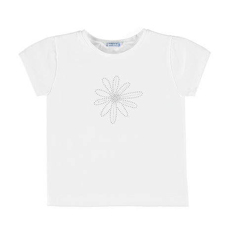 Bling Flower White and Hot Pink Basic Tee Mayoral