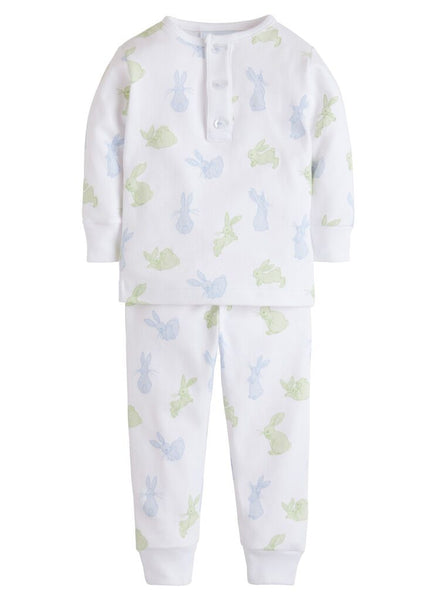 Blue Bunny Print Jammies Little English