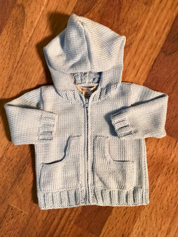 Front Zip Hooded Sweater Sizes 2 - 6 2h Handknits