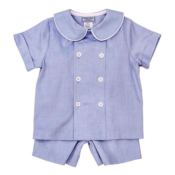 Blue Pinpoint Dressy Shorts Set Bailey Boys
