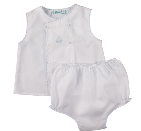 Boy's Sailboat Diaper Shirt Set Feltman Brothers