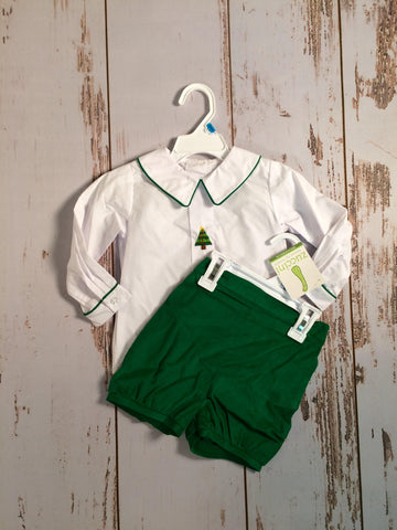 Christmas Tree Emb Boy Short Set Zuccini