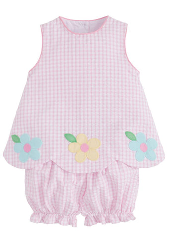 Daisy Applique Bow Back Set Little English