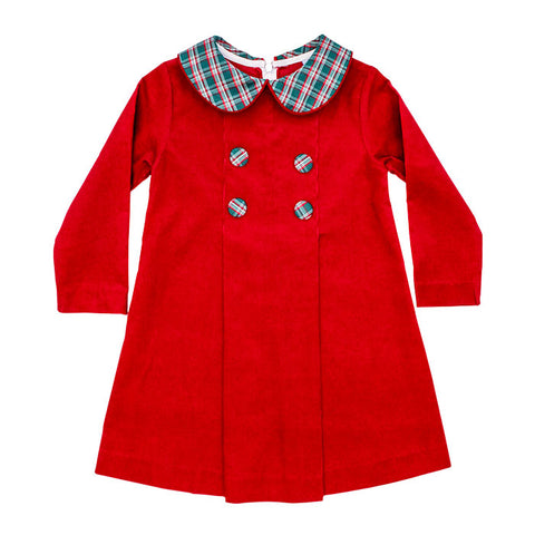 Holly Plaid Red Cord Button Dress by Bailey Boys
