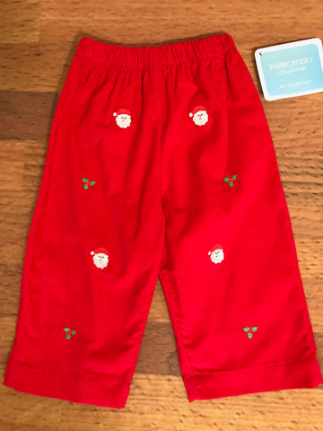 Santa Face Embroidered Pants Anavini