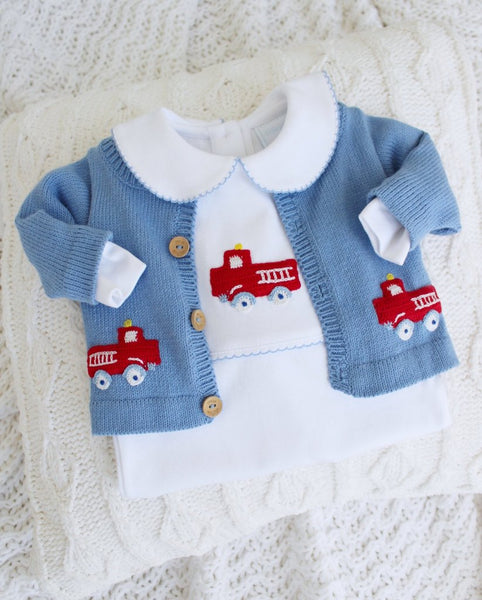 Firetruck Crochet Cardigan Little English