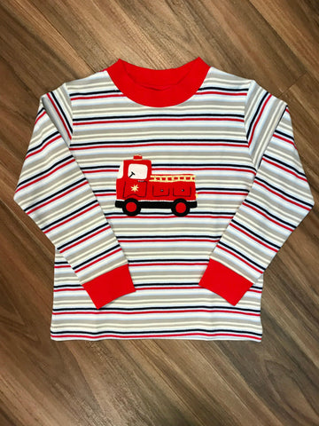 Firetruck L/S Months Tee Squiggles