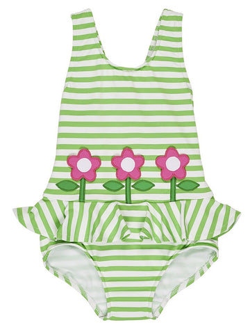Green Stripe Swimsuit w/Flowers Florence Eiseman