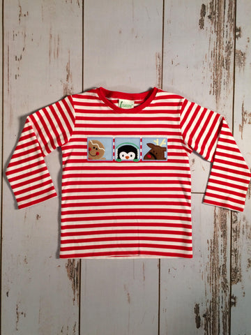 Santa's Friends Applique Tee Zuccini