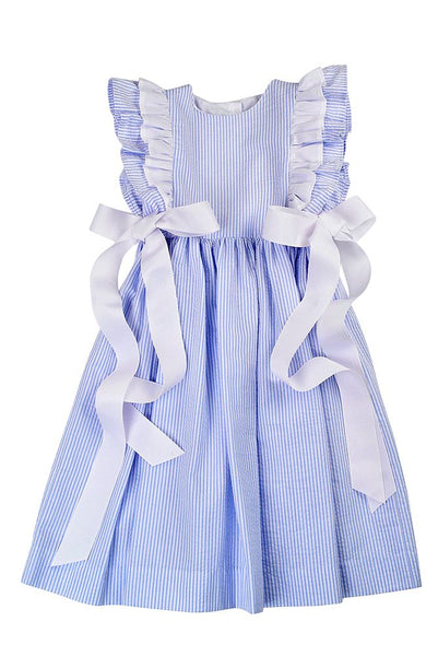 Blue Stripe Pinafore Dress w/Bows Funtasia Too