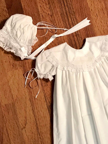 Pieces By Tam Christening Gown with Cross and Bonnet