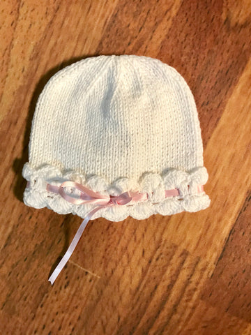 Knit Hat w/Ribbon Trim Month Sizes 2h Handknits