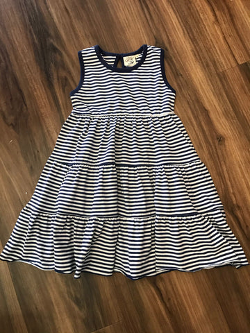 Dark Royal Stripe Tiered Dress Luigi Kids