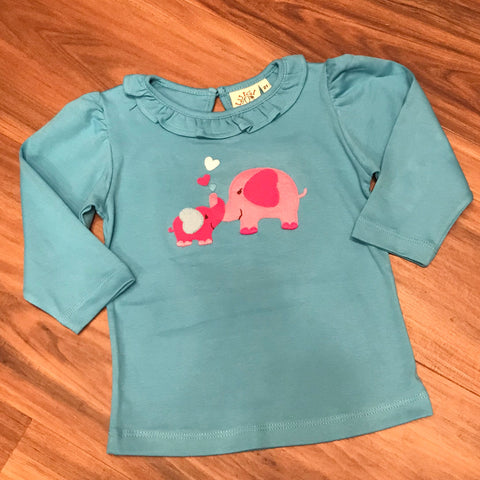 Two Elephants Toddler L/S Ruffle Tee