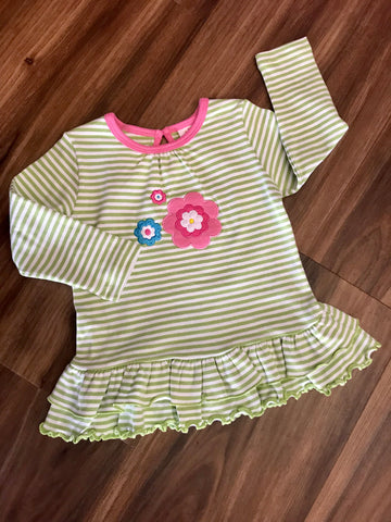 Three Flowers Stripe Ruffle Tee Luigi Kids