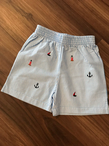 Nautical Emb. Seersucker Shorts Luigi Kids