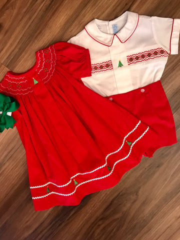 Christmas Tree Button on Short Set Collection Bebe