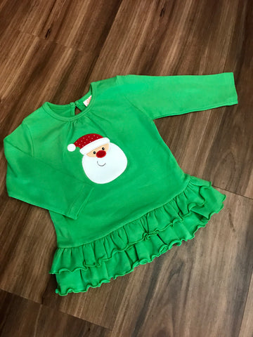 Santa Face Ruffle Bottom Swing Top Luigi Kids