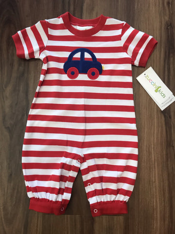 Car Applique Long Romper Zuccini
