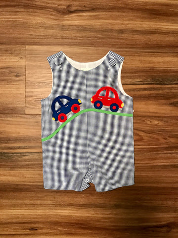 Car Applique Toddler Shortall Zuccini