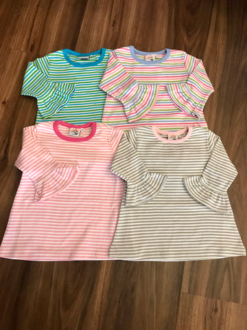 Ruffle 3/4 Sleeve Stripe Top Luigi Kids