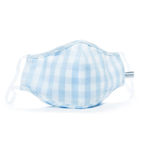 Light Blue Gingham Face Mask Petite Plume