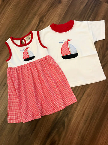 Sailboat Gingham Dress Luigi Kids