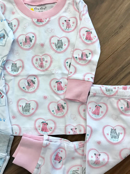 Pink Pups 2pc Pjs Toddler Kissy Kissy