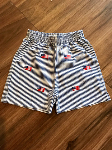 Flag Emb. Seersucker Shorts Luigi Kids