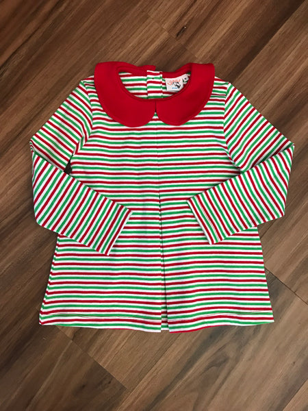 Stripe Single Pleat L/S Swing Top Luigi Kids