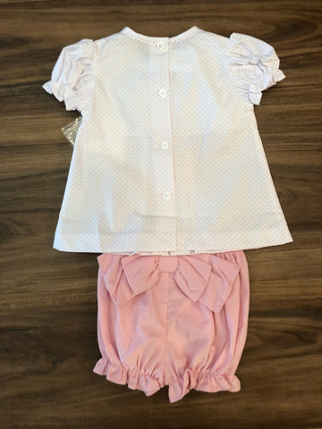 Three Pleat Bow Blouse w/Ruffle Bloomers by Zuccini