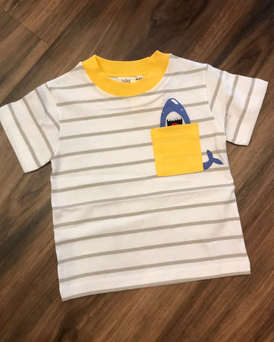 Shark Applique Pocket Tee Luigi Kids