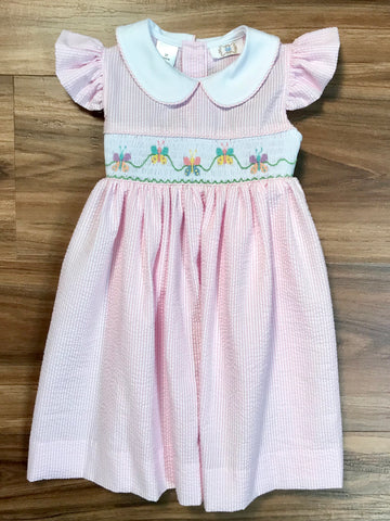 Butterfly Smocked Dress w/Sash Lulu Bebe