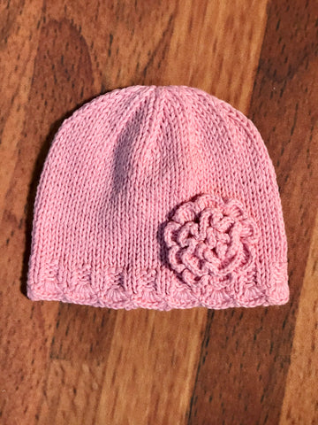 Knit Hat w/Flower & Trim 2h Handknits