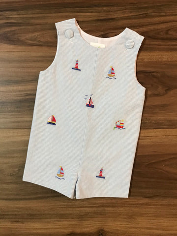 Sailboat Embroidery Shortall Zuccini Kids