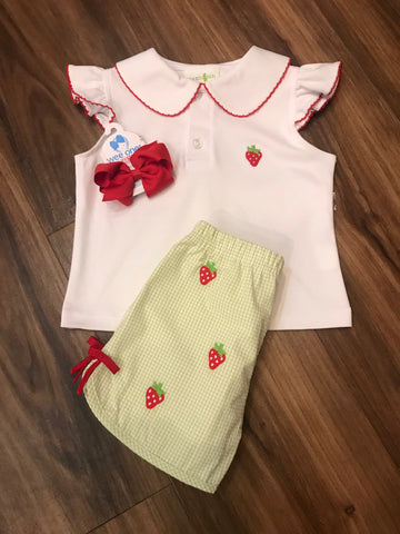 Strawberry Embroidered Short Set Zuccini Kids