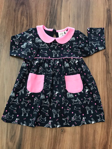Dog Print L/S Dress Luigi Kids