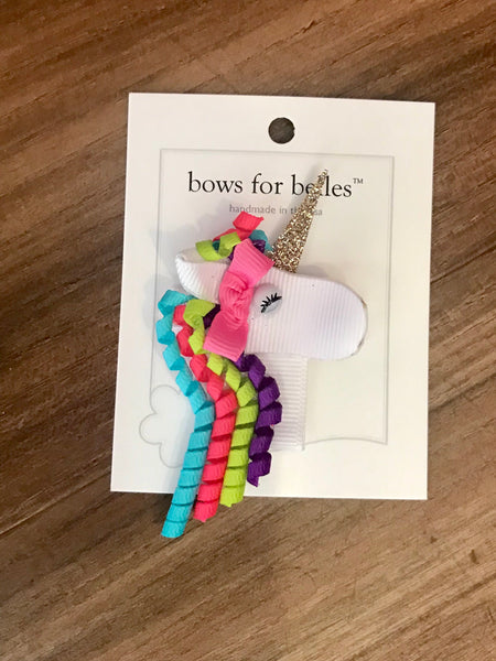 Unicorn Hair Bow Bows For Belles
